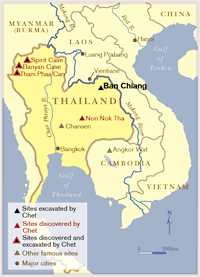 A map of Thailand showing sites discovered and/or excavated by Chester Gorman.